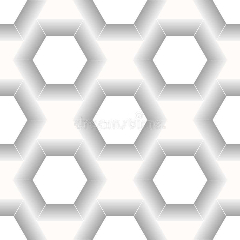 För geometrimodell för vektor modern sömlös sexhörning, svartvit abstrakt geometrisk bakgrund, moderiktigt tryck, monokrom vektor illustrationer