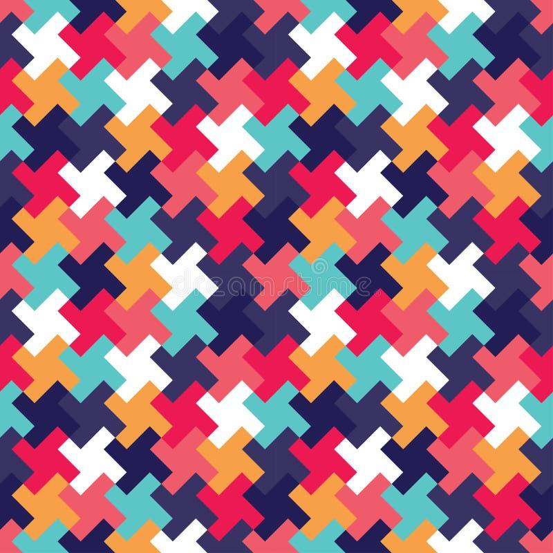 För geometripussel för vektor modern sömlös färgrik modell, färgabstrakt begrepp stock illustrationer