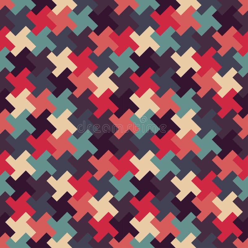 För geometripussel för vektor modern sömlös färgrik modell, färgabstrakt begrepp royaltyfri illustrationer