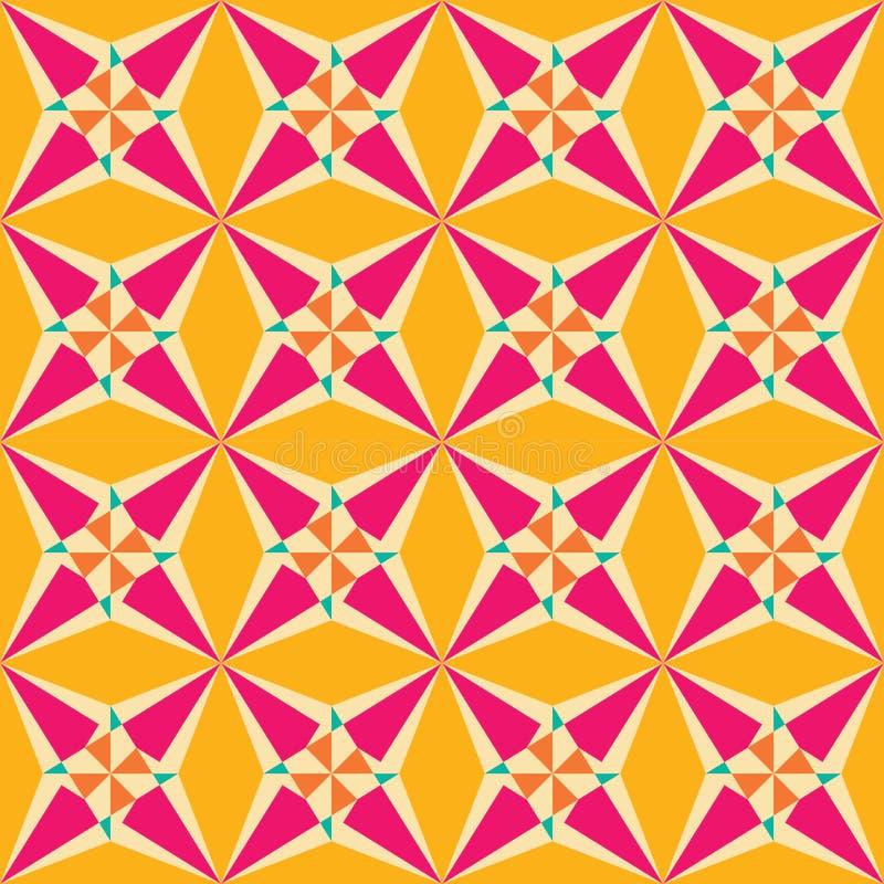 För geometristjärna för vektor modern sömlös färgrik modell, färgabstrakt begrepp stock illustrationer