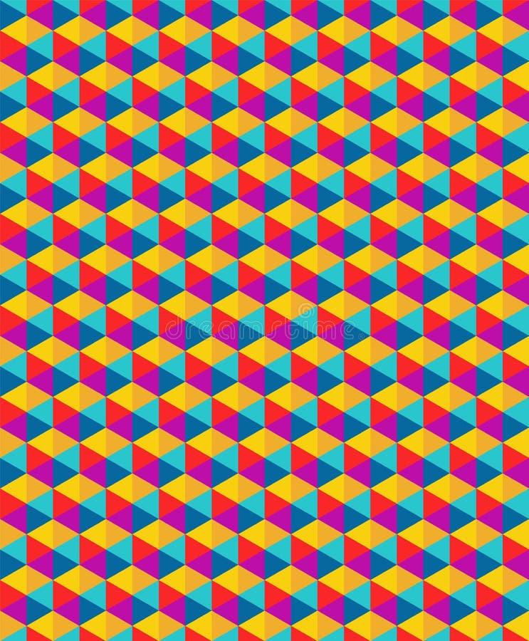 För geometritriangel för vektor modern sömlös färgrik modell royaltyfri illustrationer
