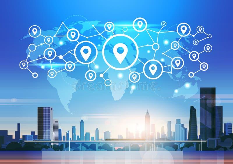 För geotagläge för världskarta futuristisk lägenhet för bakgrund för cityscape för begrepp för anslutning för nätverk för naviger stock illustrationer