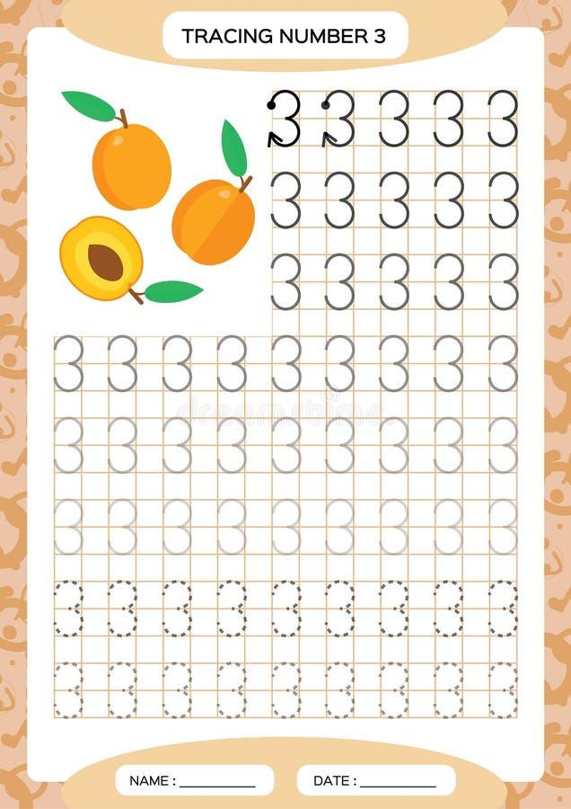för germany för 3 strandstolar hav hooded near norr nummer Spårande arbetssedel tre Orange persikafrukt Förskole- arbetssedel, pr royaltyfri illustrationer