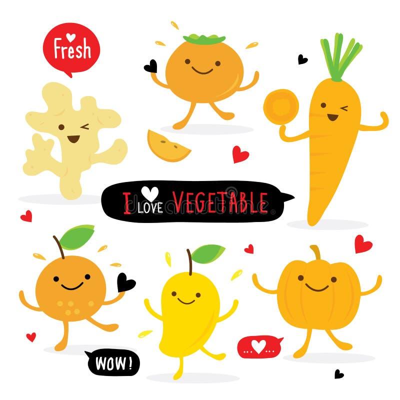 För Ginger Pumpkin Mango Orange Carrot för uppsättning för grönsak- och frukttecknad film gullig vektor persimon vektor illustrationer