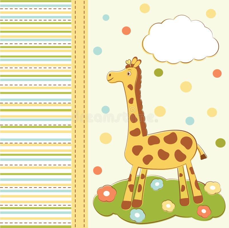 för giraffhälsning för kort gullig unge vektor illustrationer