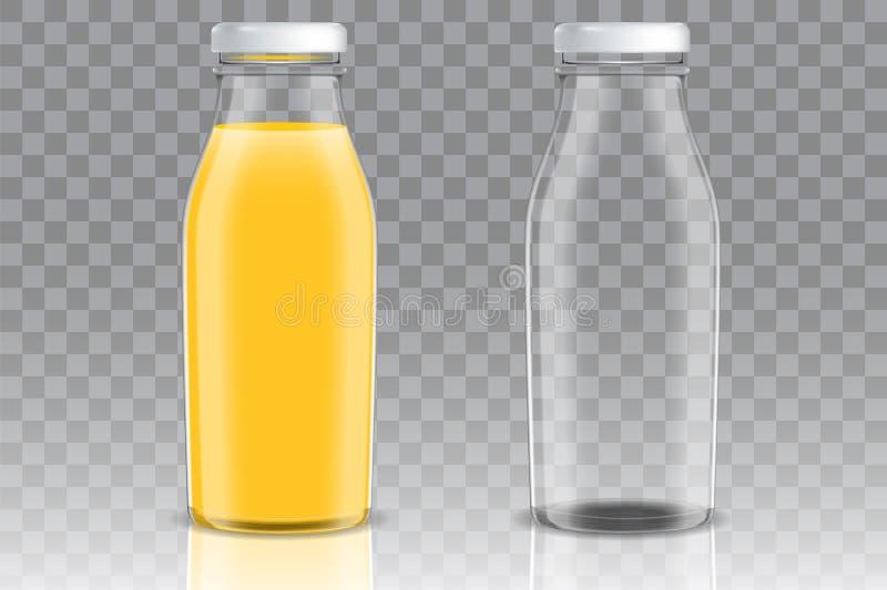 För glasflaskavektor för orange fruktsaft uppsättning för modell royaltyfri illustrationer