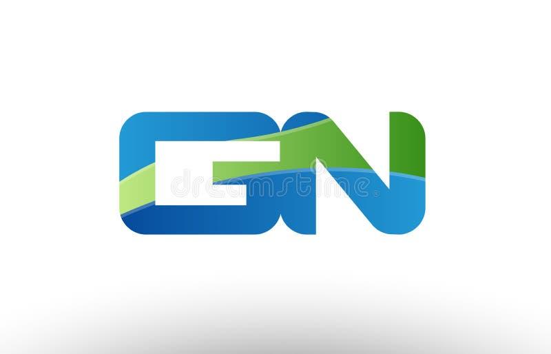 för gn-G n för blå gräsplan design för symbol för kombination för logo för bokstav för alfabet royaltyfri illustrationer