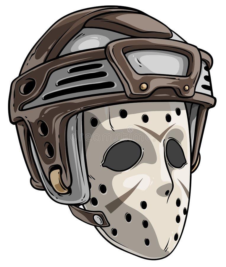 För goaliehockey för tecknad film läskig maskering med hjälmen royaltyfri illustrationer
