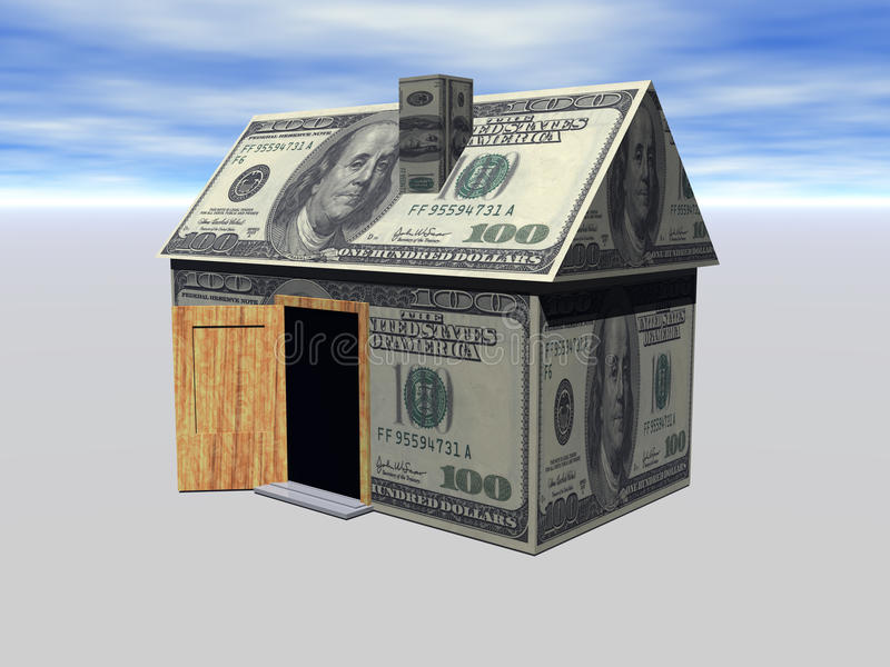 för godshuset för begreppet 3d verkliga pengar framför stock illustrationer