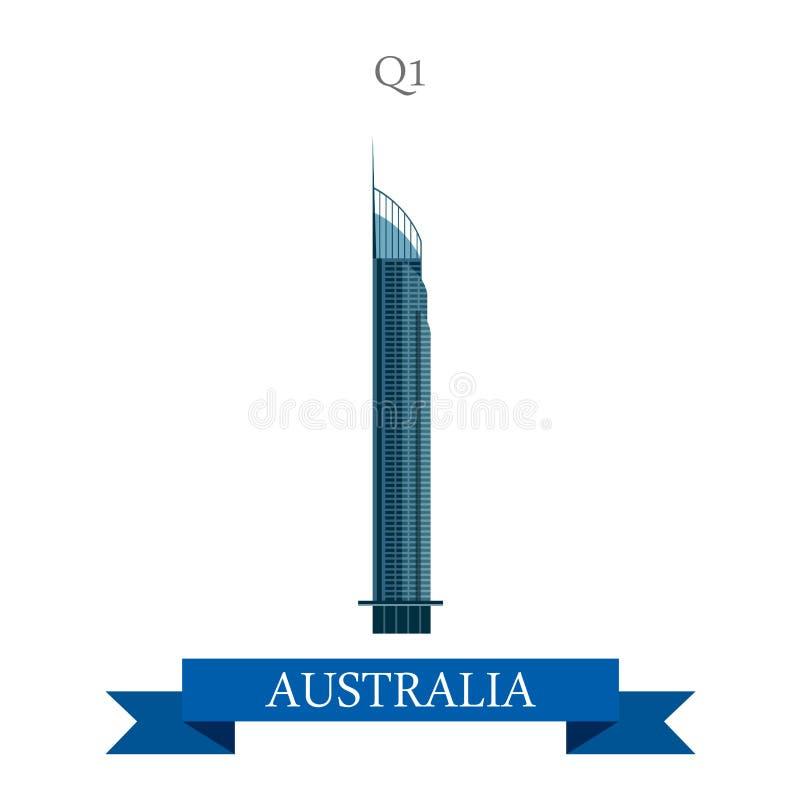 För Gold Coast Queensland Australien för torn Q1 dragning för lägenhet vektor royaltyfri illustrationer