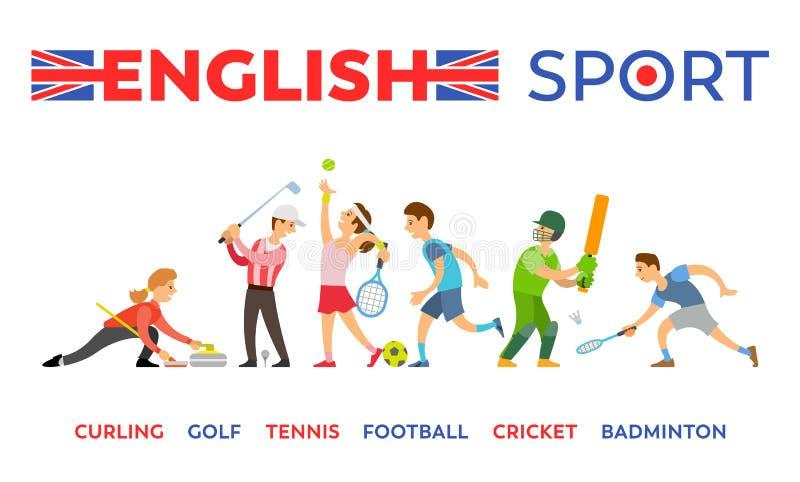 För golftennis för engelsk sport krullande syrsa för fotboll royaltyfri illustrationer