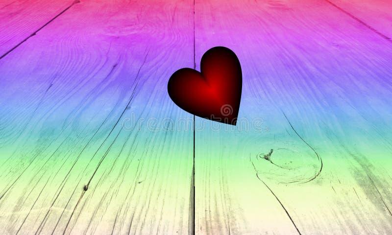 För golvbakgrund för tappning mångfärgad Wood textur med regnbågeförälskelsehjärta, vektorillustration vektor illustrationer