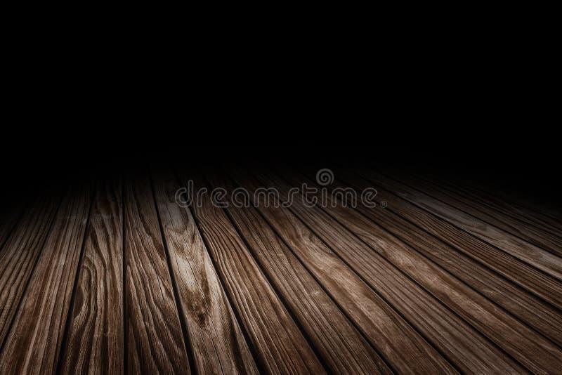 För golvtextur för den mörka plankan förlöjligar gammal wood bakgrund för perspektivet för skärm eller montage av produkten, upp  arkivfoto