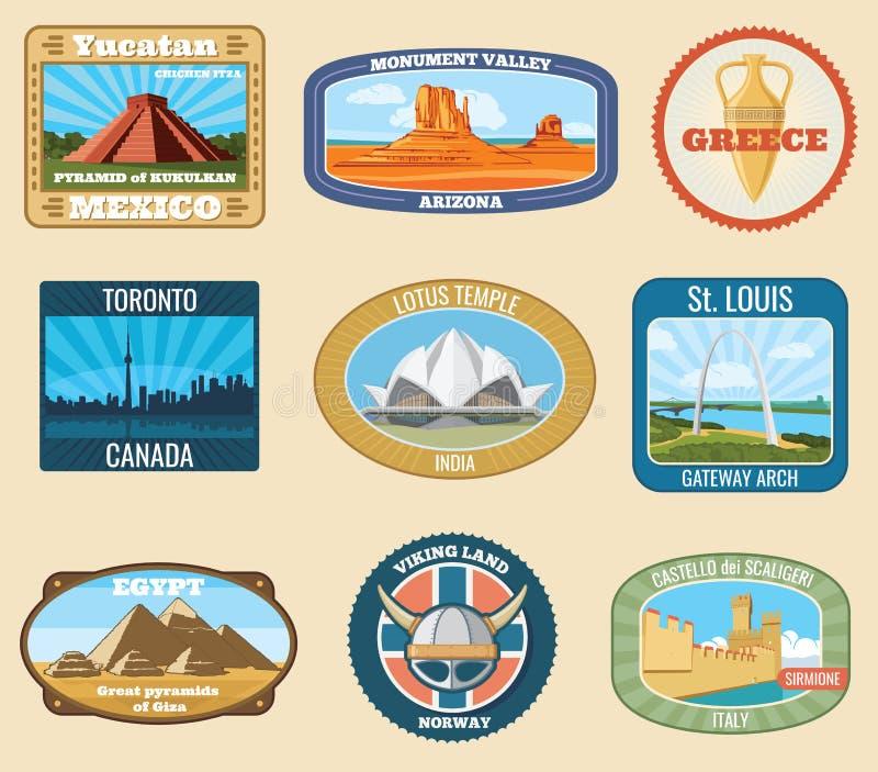 För gränsmärkevektor för värld berömda internationella klistermärkear för lopp för tappning royaltyfri illustrationer