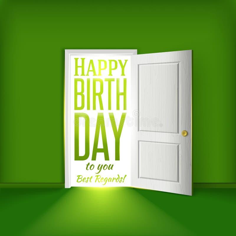 För gräsplanrum för lycklig födelsedag begrepp för kort med den öppna dörren royaltyfri illustrationer
