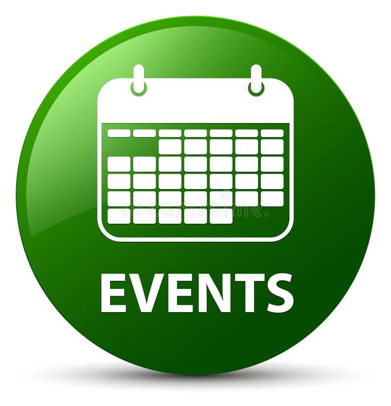 För gräsplanrunda för händelser (kalendersymbol) knapp royaltyfri illustrationer