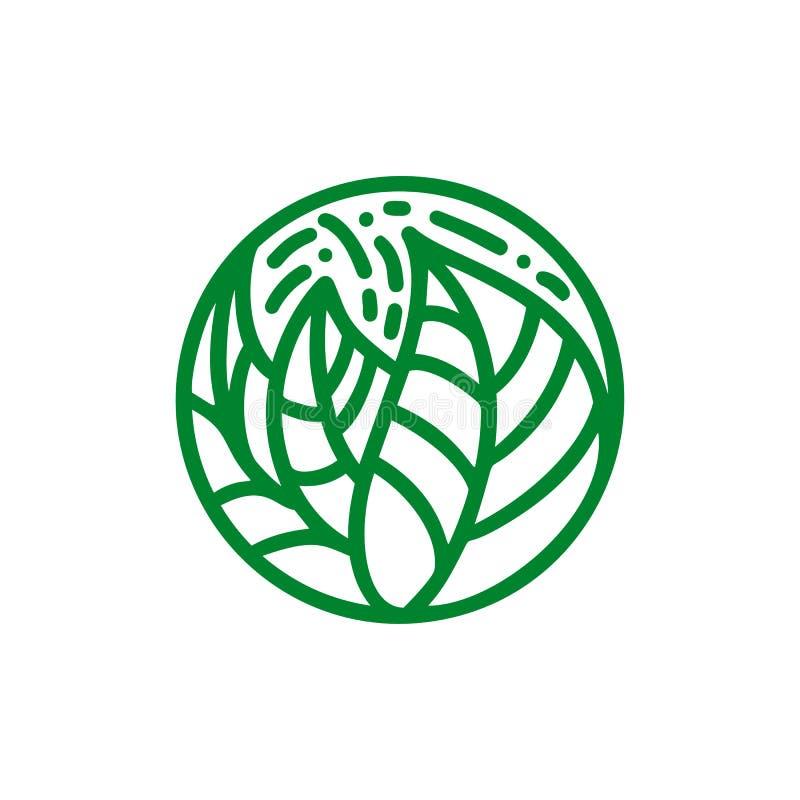 För gräsplansidor för tropisk växt logo Runt bio emblem i en linjär stil för cirkel Abstrakt emblem för vektor för design av natu stock illustrationer
