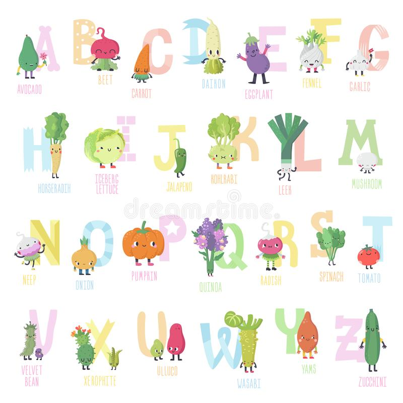 För grönsakvektor för gullig tecknad film levande alfabet i trevliga färger stock illustrationer