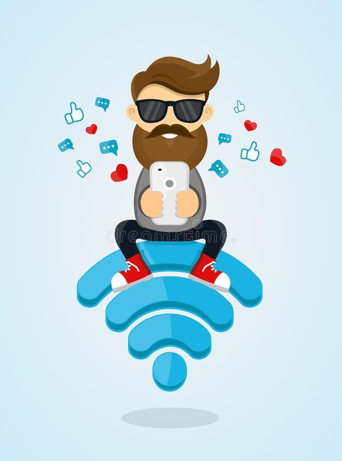 För grabbtecken för unga män sammanträde på emblemet wi-fi och användasmartphonen för internet fri internet, hotspot, nätverksbeg vektor illustrationer
