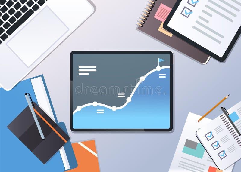 För graffinans för analys finansiell skärm för minnestavla för bärbar dator för sikt för bästa vinkel för begrepp för strategi fö stock illustrationer