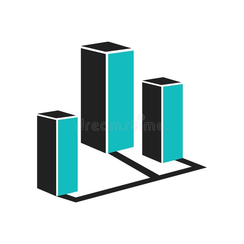 för grafsymbol för läge som 3D tecken och symbol för vektor isoleras på vit bakgrund, för graflogo för läge 3D begrepp stock illustrationer