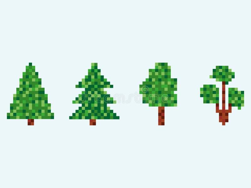 för granträd för 8 bit uppsättning PIXELjulgran som isoleras på vit bakgrund vektor vektor illustrationer