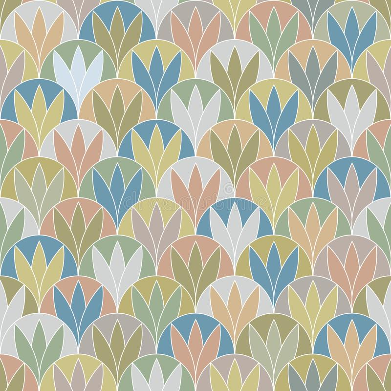 För Gray Abstract Plants Texture Seamless för guld- grön persika för vektor blå modell repetition stock illustrationer
