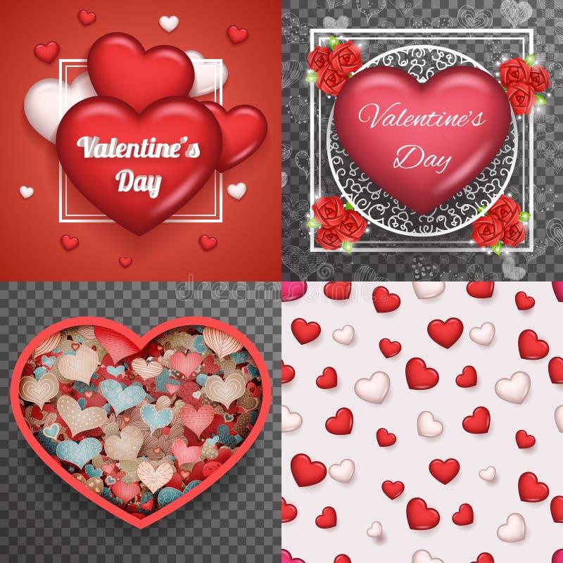 För Greating för bakgrund för klotter för Valentine Day Heart Realistic 3d symbol vektor för uppsättning för design för genomskin vektor illustrationer