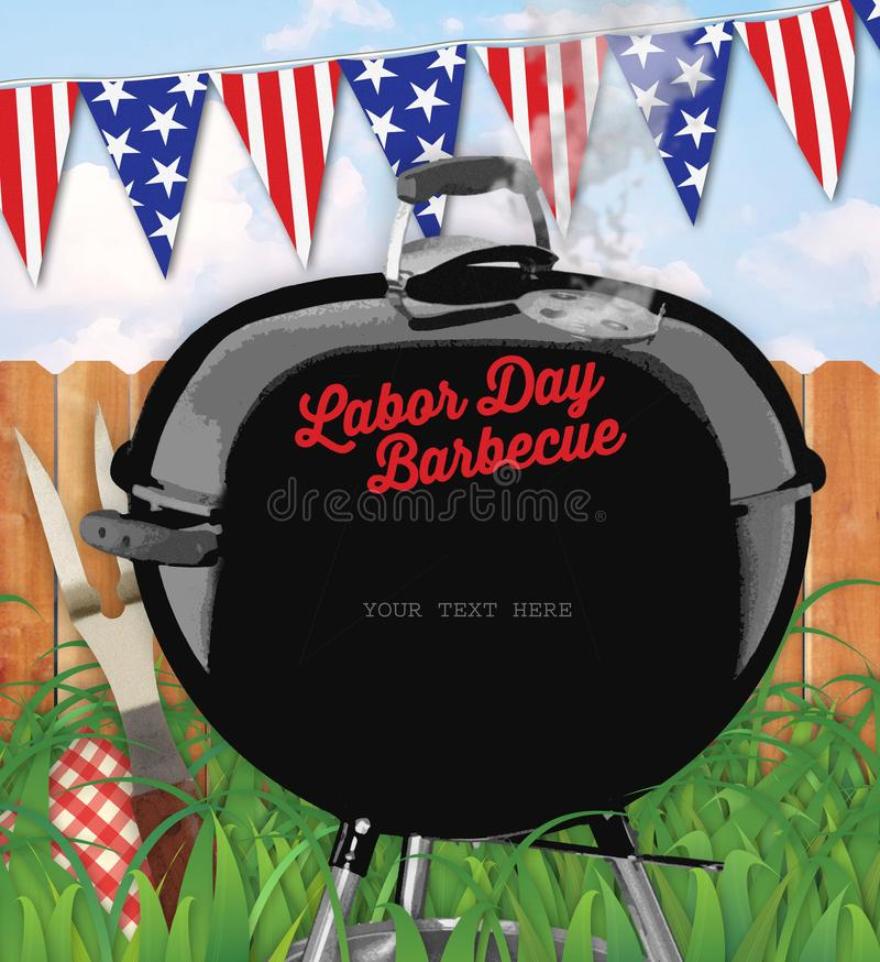 För grillfestinbjudan för arbets- dag trädgård royaltyfri illustrationer