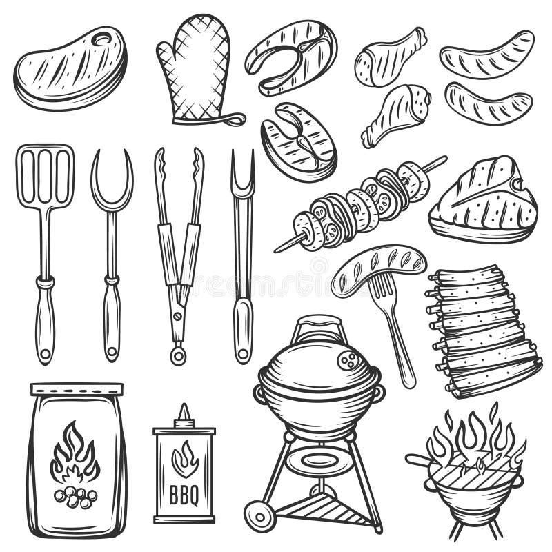 För grillfestsymboler för vektor hand dragen uppsättning royaltyfri illustrationer