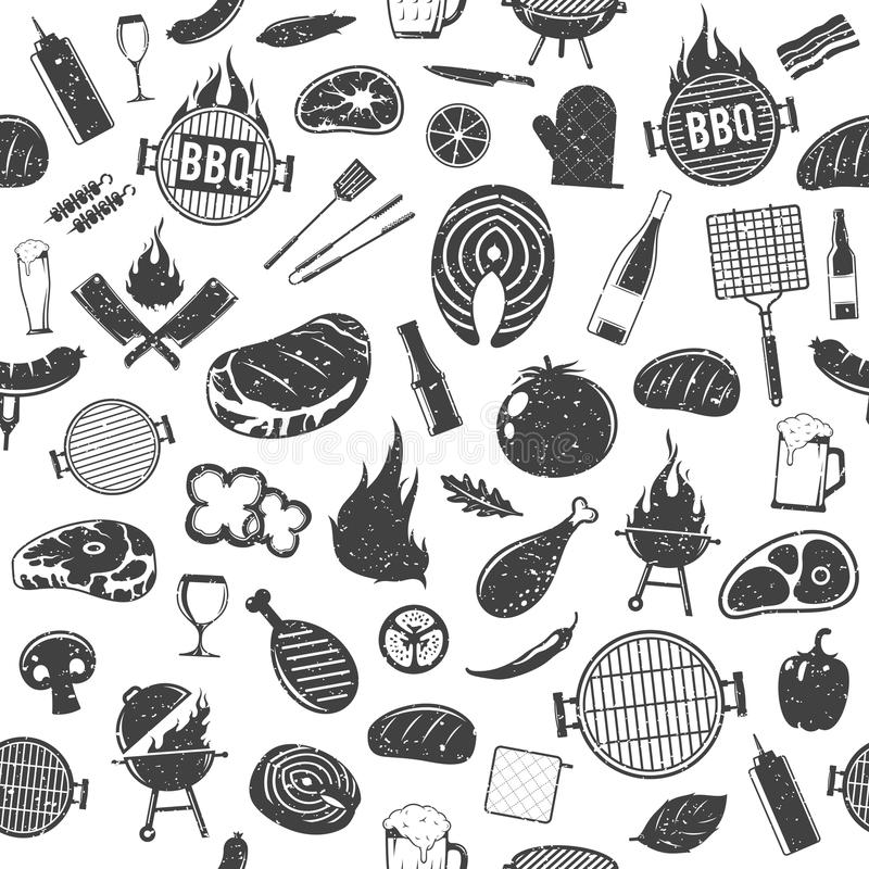 För grillfestsymboler för vektor retro utformad sömlös modell eller backgroun vektor illustrationer