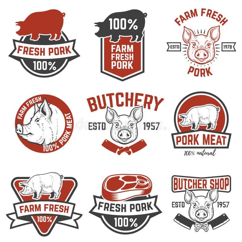 För grisköttkött för lantgård nya emblem Designbeståndsdelar för logoen, etikett, vektor illustrationer