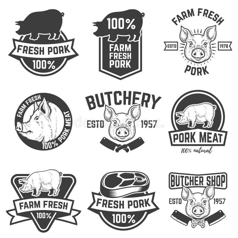 För grisköttkött för lantgård nya emblem Planlägg beståndsdelar för logoen, etikett, s vektor illustrationer