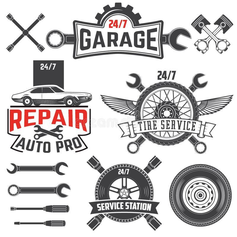 För grungebil för tappning retro etiketter royaltyfri illustrationer