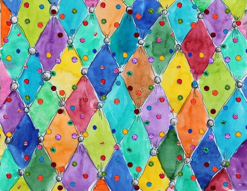 För grungecirkus för vattenfärg monokrom modell för tappning arkivfoton