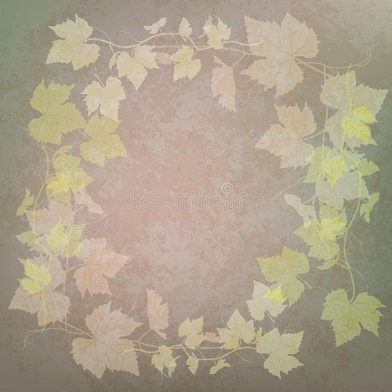 för grungeillustration för druva gröna leaves vektor illustrationer