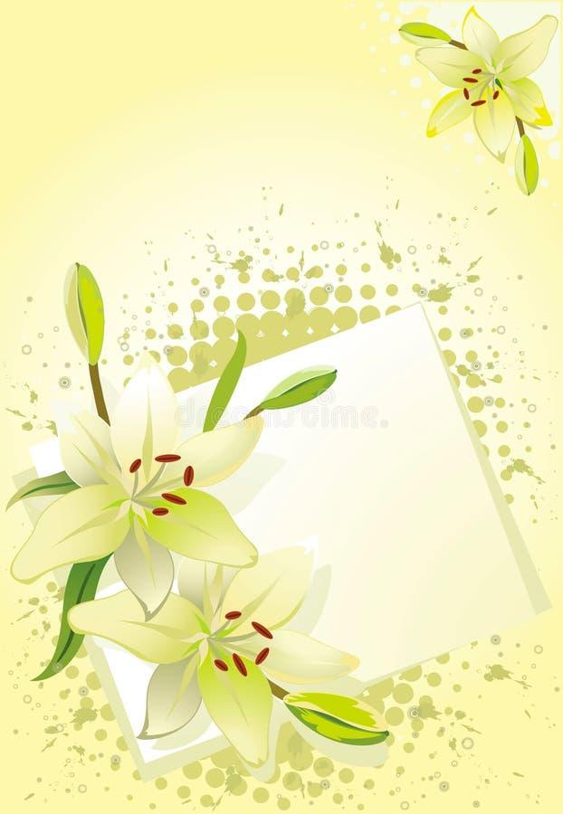 för grungelilja för bakgrund blom- vektor royaltyfri illustrationer