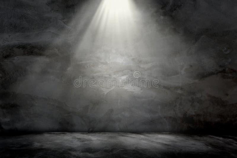 För grungeljus för vägg konkret textur för bakgrund för lampa överst royaltyfri foto