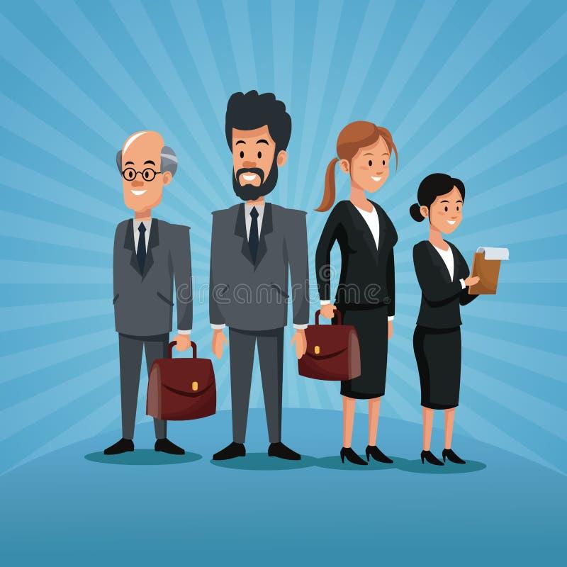 För gruppfolk för arbets- dag personal för affär med portföljen stock illustrationer