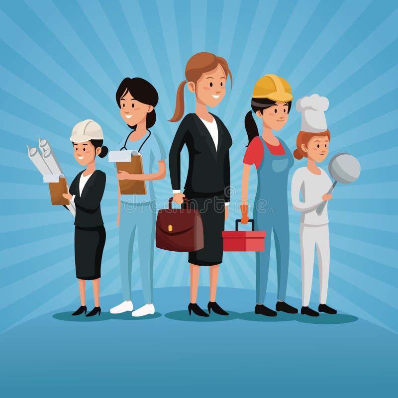 För gruppkvinnor för arbets- dag olikt yrke för arbetare vektor illustrationer