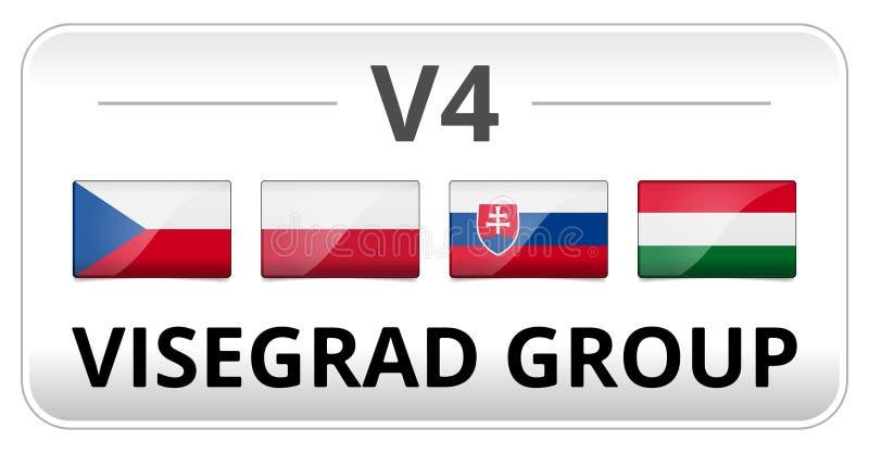 För gruppland för V4 Visegrad flagga royaltyfri illustrationer