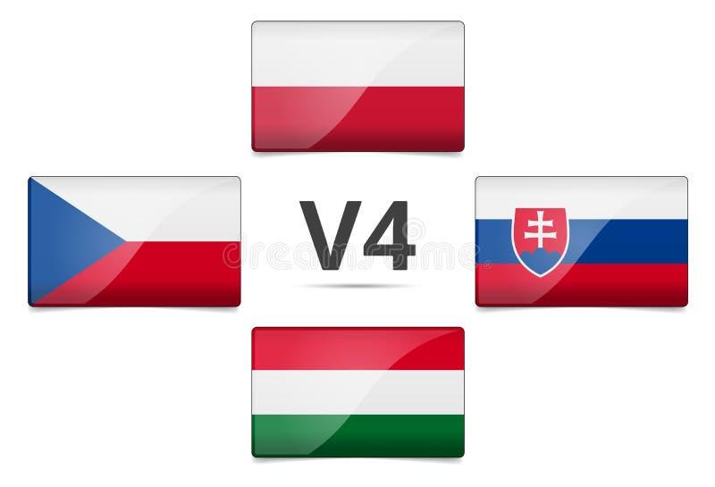 För gruppland för V4 Visegrad flagga vektor illustrationer