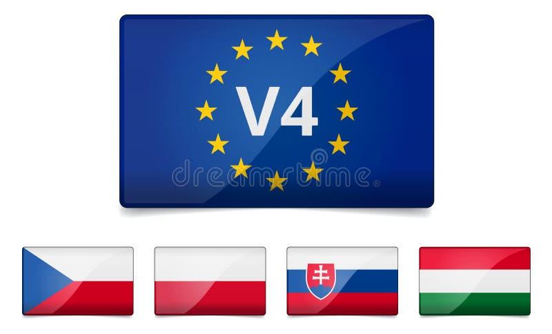 För gruppland för V4 Visegrad flagga stock illustrationer