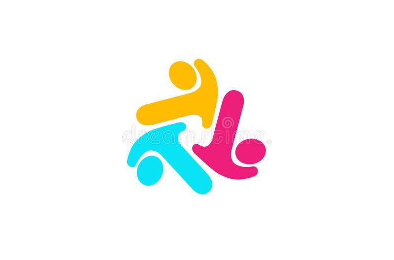 För gruppsköld för tre personer säkerhet Logo Design Illustration royaltyfri illustrationer