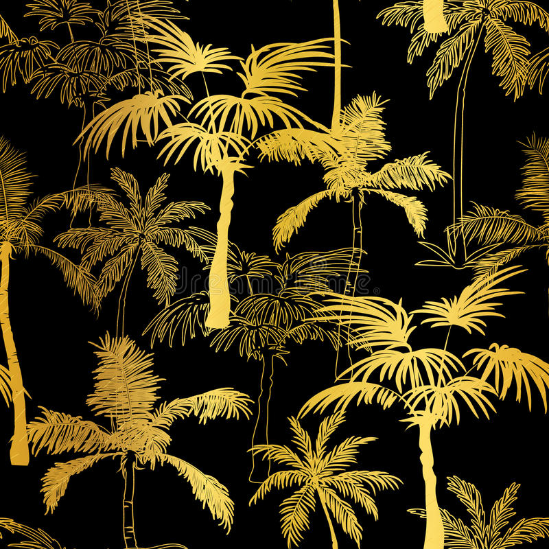 För guld- svart bakgrund för modell palmträdsommar för vektor sömlös Utmärkt för tropiskt semestertyg, kort som gifta sig royaltyfri illustrationer