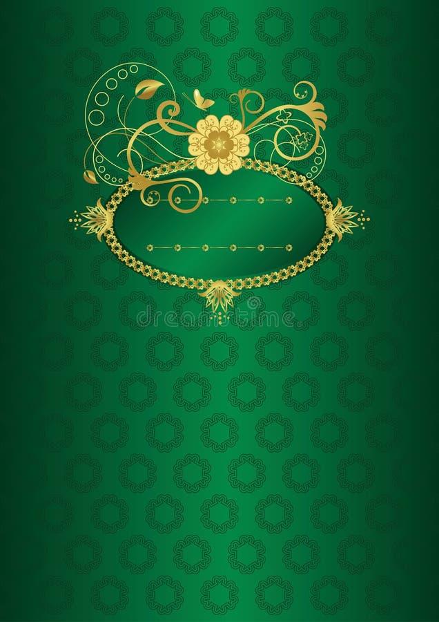 för guldgreen för kort blom- hälsning royaltyfri illustrationer