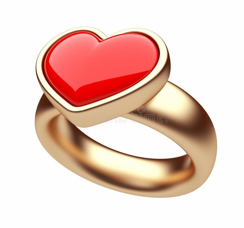 för guldhjärta för begrepp 3d cirkel för red för förälskelse royaltyfri illustrationer