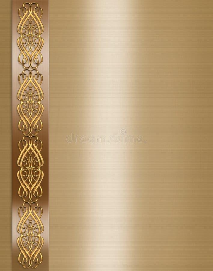 för guldinbjudan för kant elegantt bröllop stock illustrationer