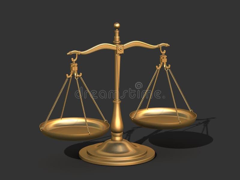 för guldrättvisa för jämvikt 3d scales royaltyfri illustrationer