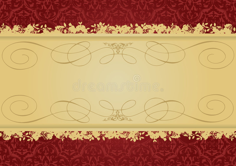 för guldred för baner dekorativ tappning stock illustrationer